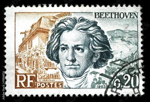 vintage french stamp depicting Ludwig van Beethoven