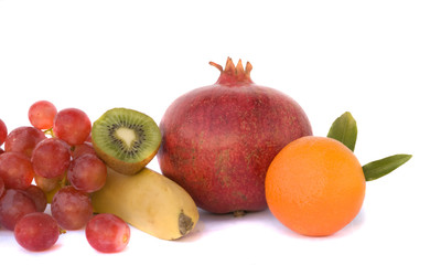 Fruit composition isolated on white background