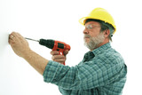 Construction man fixing poster