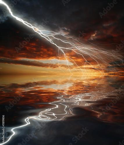 Lightning on sunset sky background - 11819806