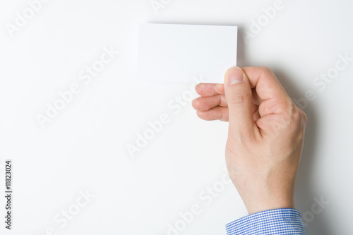 Man presenting business card