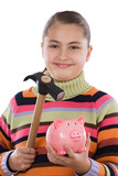 Adorable girl with moneybox and hammer poster