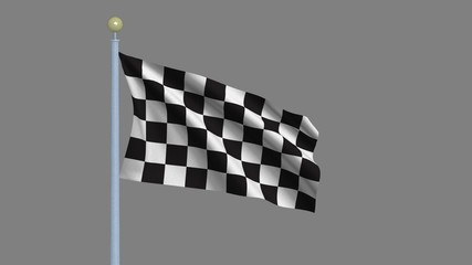 Checkered race flag waving in the wind - including alpha matte