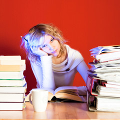 young woman frustrated with learning difficult things