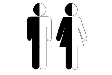 Pictogramme couple homme et femme noir et blanc