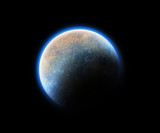 cosmic blue space planet poster