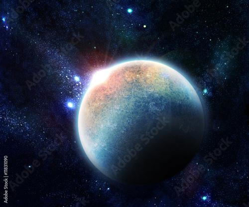 planet with Rising Sun illustration