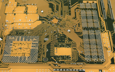 Mother Board backside showing circuits close up