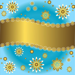 Blue and golden  floral background  (vector)