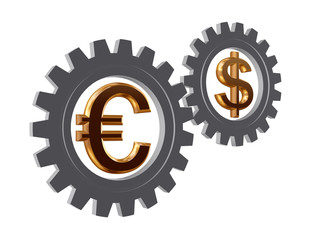 gear-wheels with euro and dollar