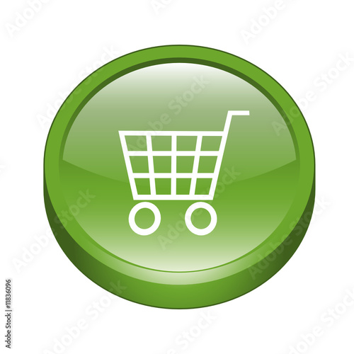 shopping cart icon. Glossy 3D Shopping Cart Icon