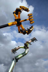 Carnival rides on the move at a german folk festival