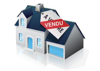 Pavillon bourgeois et étiquette vendu (reflet)