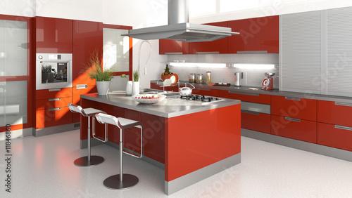 red kitchen - 11846860