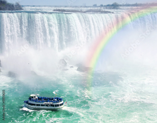 Fotobehang Grote meren Rainbow and tourist boat at Niagara Falls