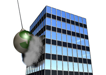 Financial Wrecking Ball on White