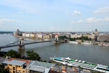 Budapest Chain Bridge over Danube and cruise ship poster