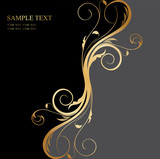 Fototapety black and gold floral background