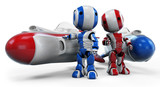 Two Robots with Hover Rockets poster