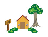 Vector Illustration of a Home with Sale Signboard poster