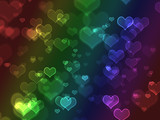 Bright colorful bokeh hearts poster
