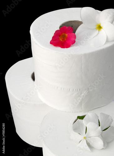 rouleaux de papier toilette avec fleurs sur fond noir de unclesam photo libre de droits. Black Bedroom Furniture Sets. Home Design Ideas
