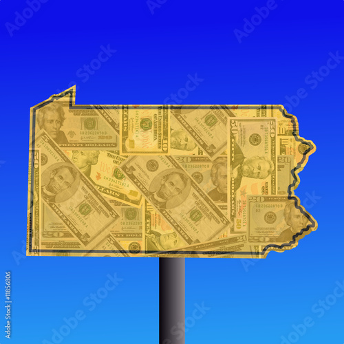 Pennsylvania sign with dollars
