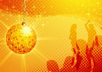 Mirror ball and dancing girls