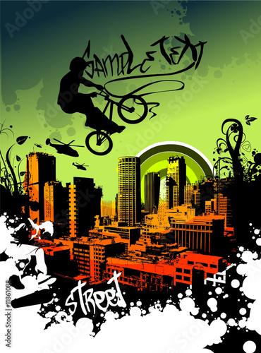 Fototapeta BMX in the sky over the city