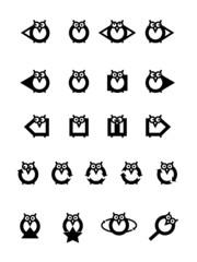 Funny owls icon set