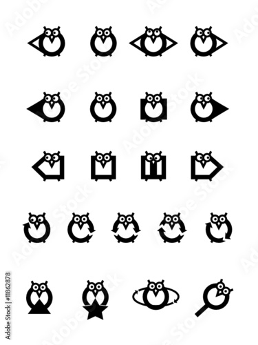 Funny owls icon set