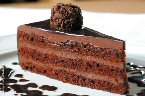 cake truffle with black chocolate sauce