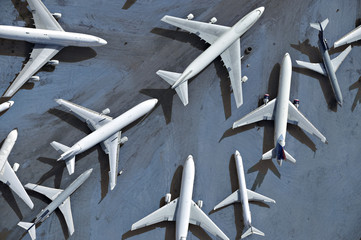 Airplanes parked on a runway