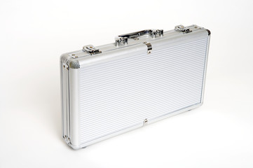 a silver suitcase
