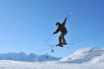 Skier performing aeroski