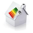 Maison blanche et étiquette énergie de classe A (reflet)