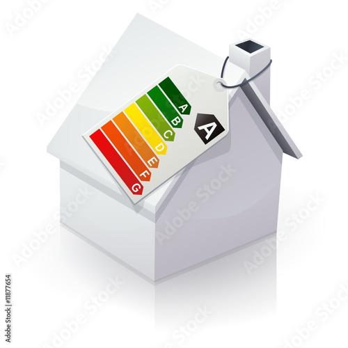 Maison blanche et tiquette nergie de classe a reflet - Classe energie d maison ...