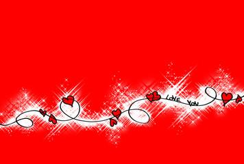 sfondo rosso con cuori