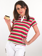 girl in white jeans pant holding credit card