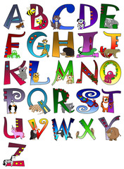 Animal Themed Alphabet Poster A - Z Poster
