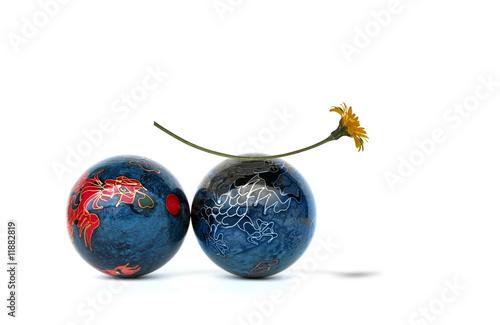 Boules chinoises avec fleur Poster