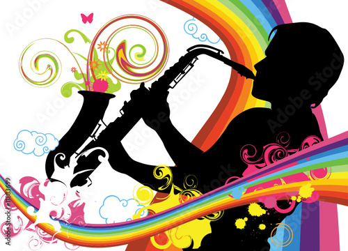 Swirling sainbow illustration with saxophonist