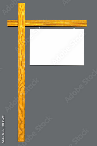 Sign White and Wood - Isolated