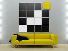 Projektowanie wnętrz - Żółta kanapa w nowoczesnym stylu