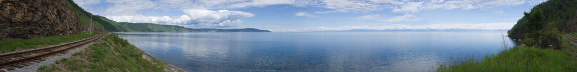 Panoramic photo of lake Baikal