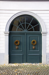 Classical double door with fanlight of old house