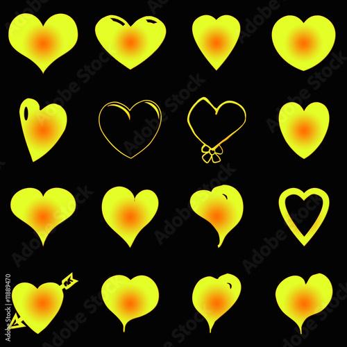 corazones amarillos