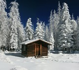Cozy Log Cabin Snowy in Arizona Winter