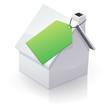 Maison blanche et étiquette verte (reflet)