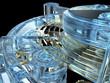 Dettagli della fotografia Clockwork mechanism with unusual glass material
